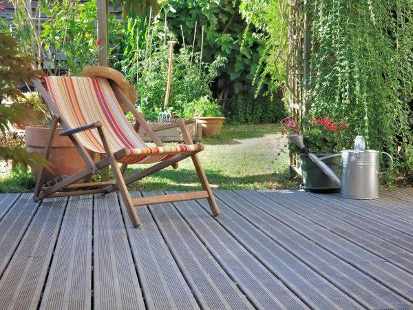lounge chair on wooden terrace garden