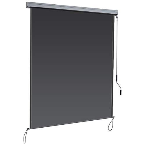 COSTWAY Senkrechtmarkise Sichtschutzrollo Fensterrollo, Sichtschutz Sonnenschutz Windschutz, mit Aluminiumrahmen (1,6x2,5m/dunkelgrau)