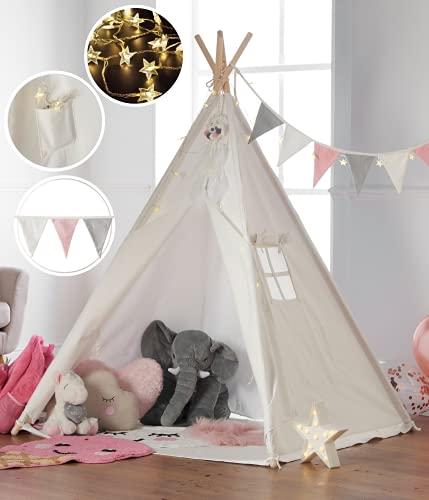 Haus Projekt Tipi Zelt Set Kinder mit Zubehör, Lichterkette, Wimpelkette, Aufbewahrungstasche & Bodenmatte – Kinderzimmer Spielzelt 100% Baumwoll, Teepee für drinnen / draußen (160cm hoch) (Weiß/Rosa)
