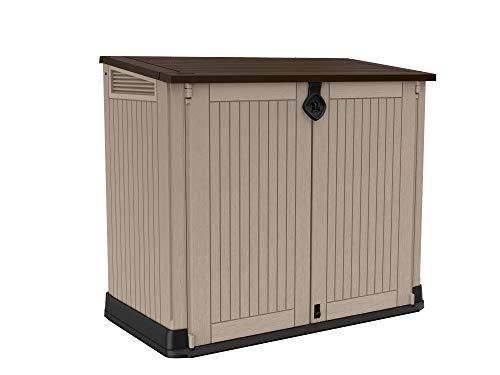 Keter Store-It Out Midi Gartenlager aus Kunststoff, Schuppen, Beige und Braun, 130 x 74 x 110 cm