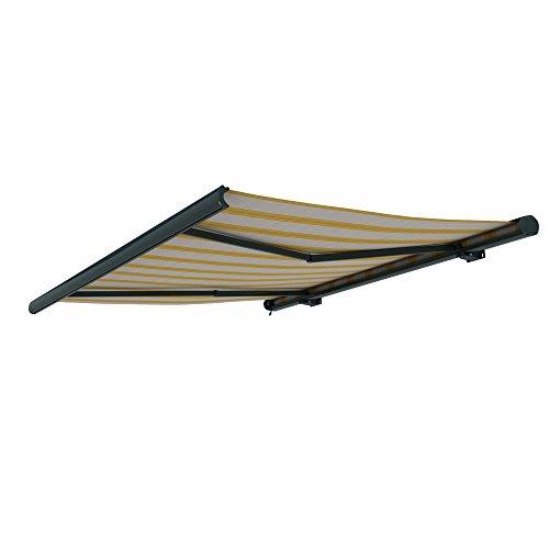 paramondo Markise Kassettenmarkise Curve Gelenkarmmarkise Balkon Terrasse Sichtschutz, mit jarolift Funkmotor, 3,5 x 3 m, Gestell: Anthrazit, Stoff: Multi, Beige-Gelb