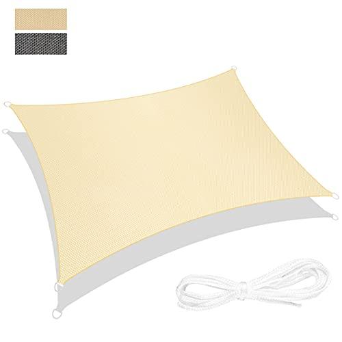RATEL Sonnensegel Sand 3 × 4 m Rechteck, wasserdicht Windschutz mit 95% UV Schutz Sonnenschutz für Draußen, Patio, Garten Terrasse Camping