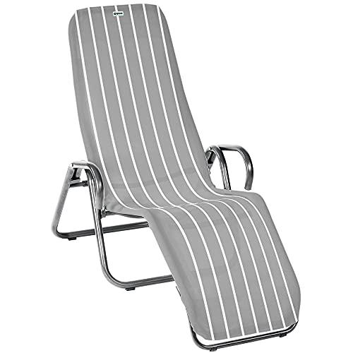 acamp Gartenliege klappbar   Wetterfest beschichteter Liegestuhl Garten   Liegestuhl klappbar mit Bezug aus atmungsaktivem Acatex-Gewebe   Kippliege mit hohem Liegekomfort in Platin Denver