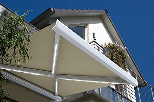 Home Deluxe - LED Vollkassettenmarkise Sandfarben mit Wind- und Sonnensensor - ELOS 350 x 250 cm - komplett inkl. Montagematerial I Terrassenüberdachung Sonnenschutz Windschutz